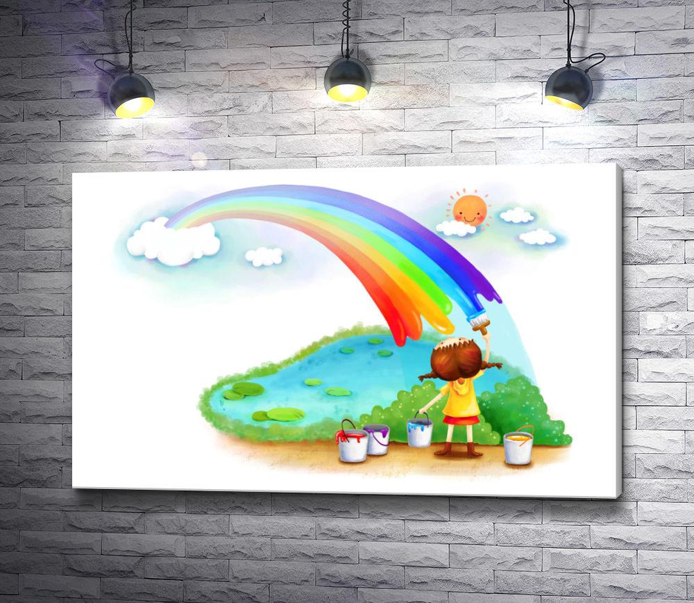 """Картина """"Девочка рисует радугу"""""""