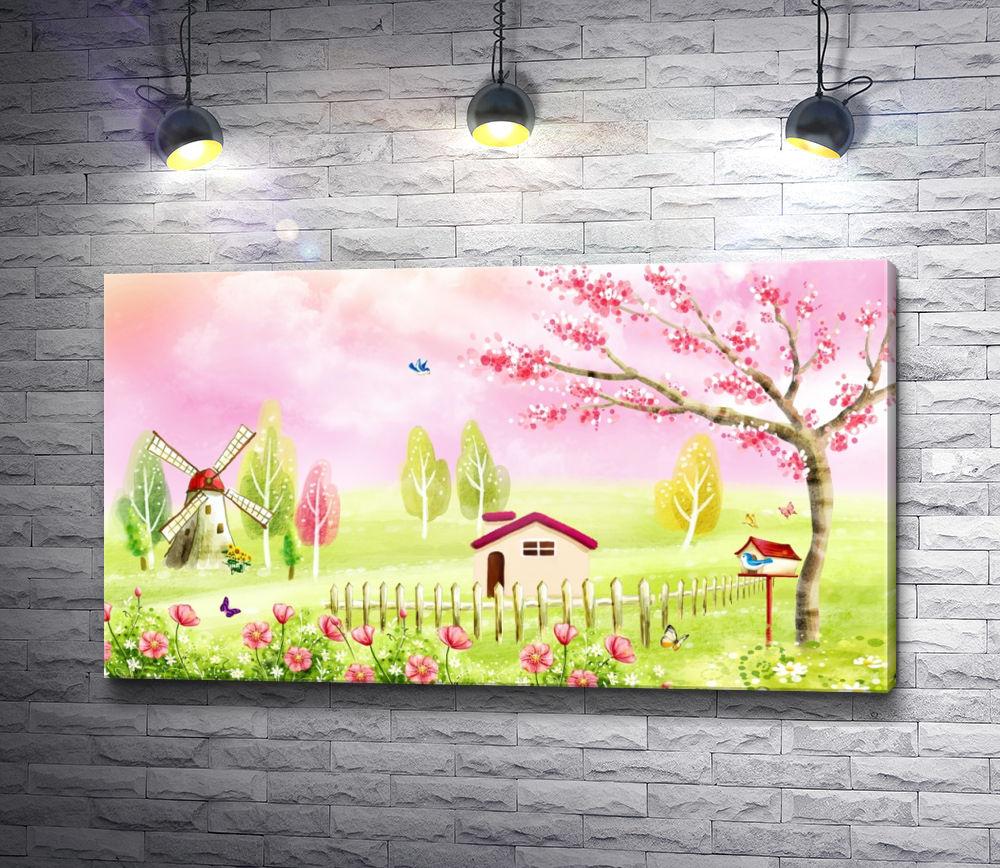 """Картина """"Домик возле забора, мельница и весеннее дерево"""""""