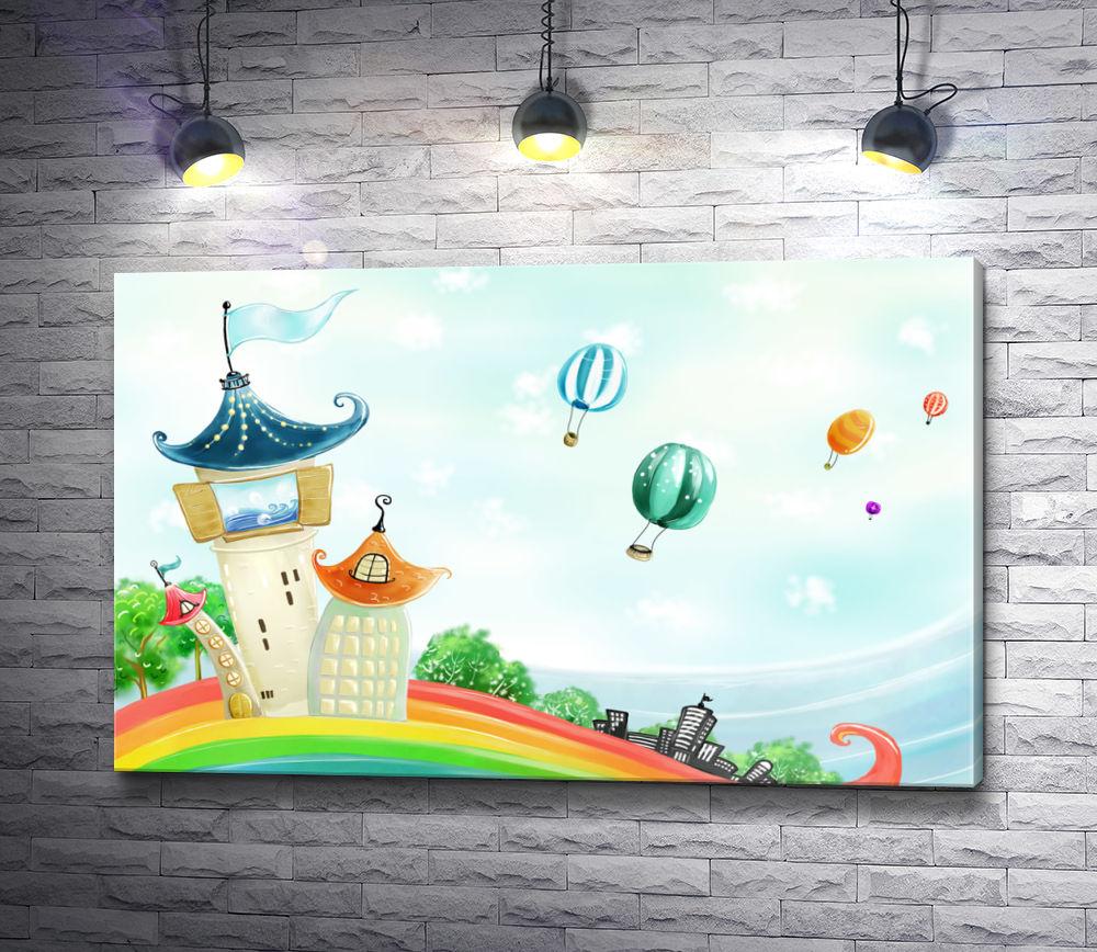 """Картина """"Маленькая сказочная страна и воздушные шары"""""""