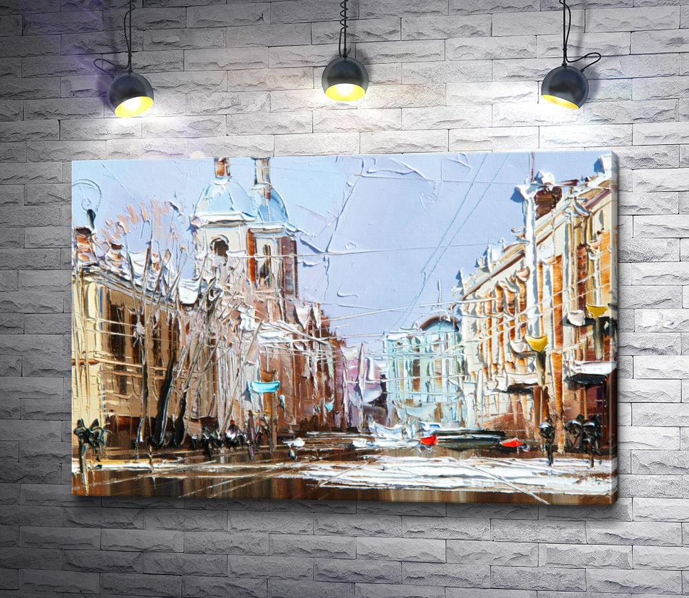 """Картина """"На центральной улице города"""""""