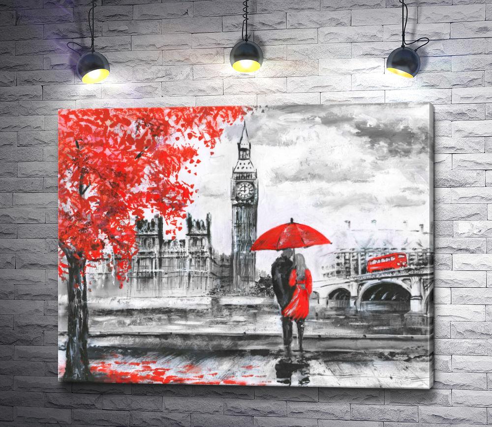 """Картина """"Пара под красным зонтом в Лондоне. Черно-белая гамма"""""""