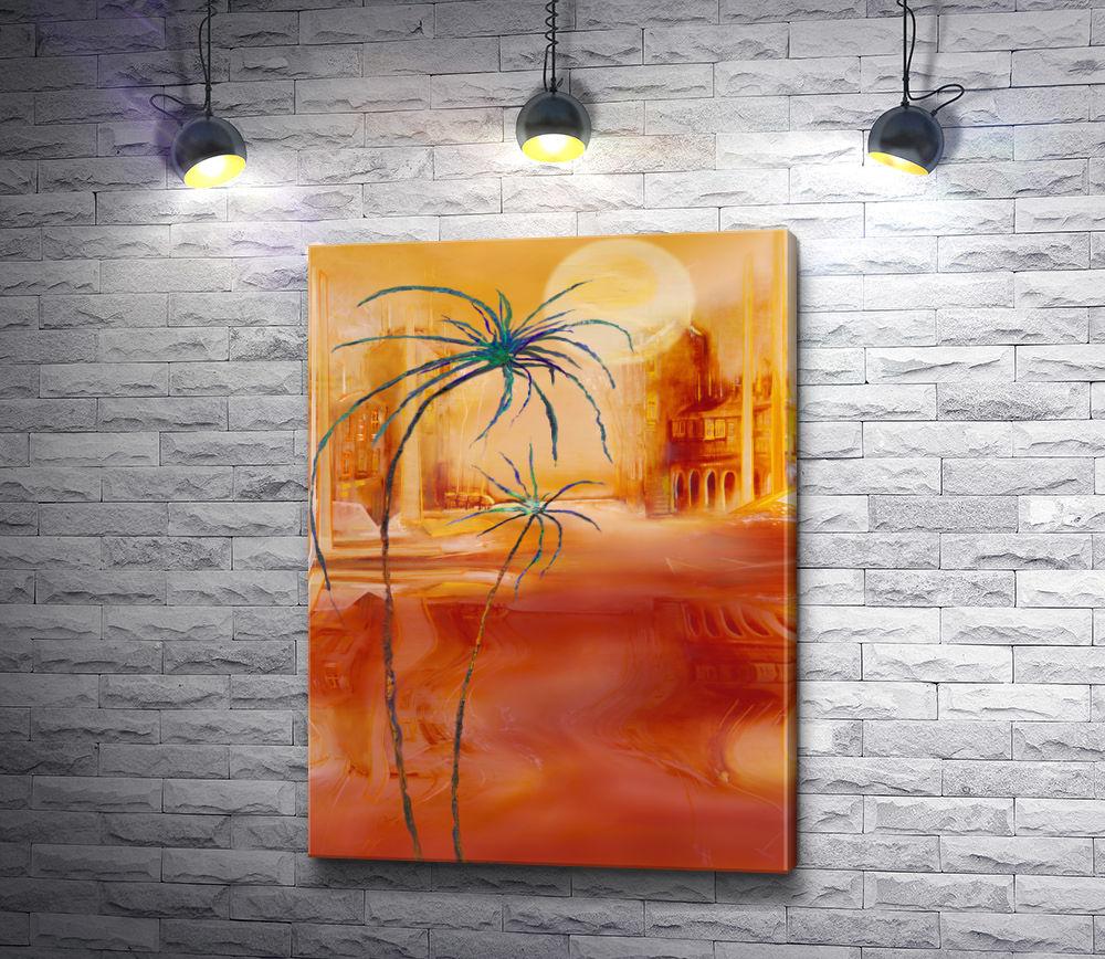 """Картина """"Оранжевый пейзаж с пальмами"""""""