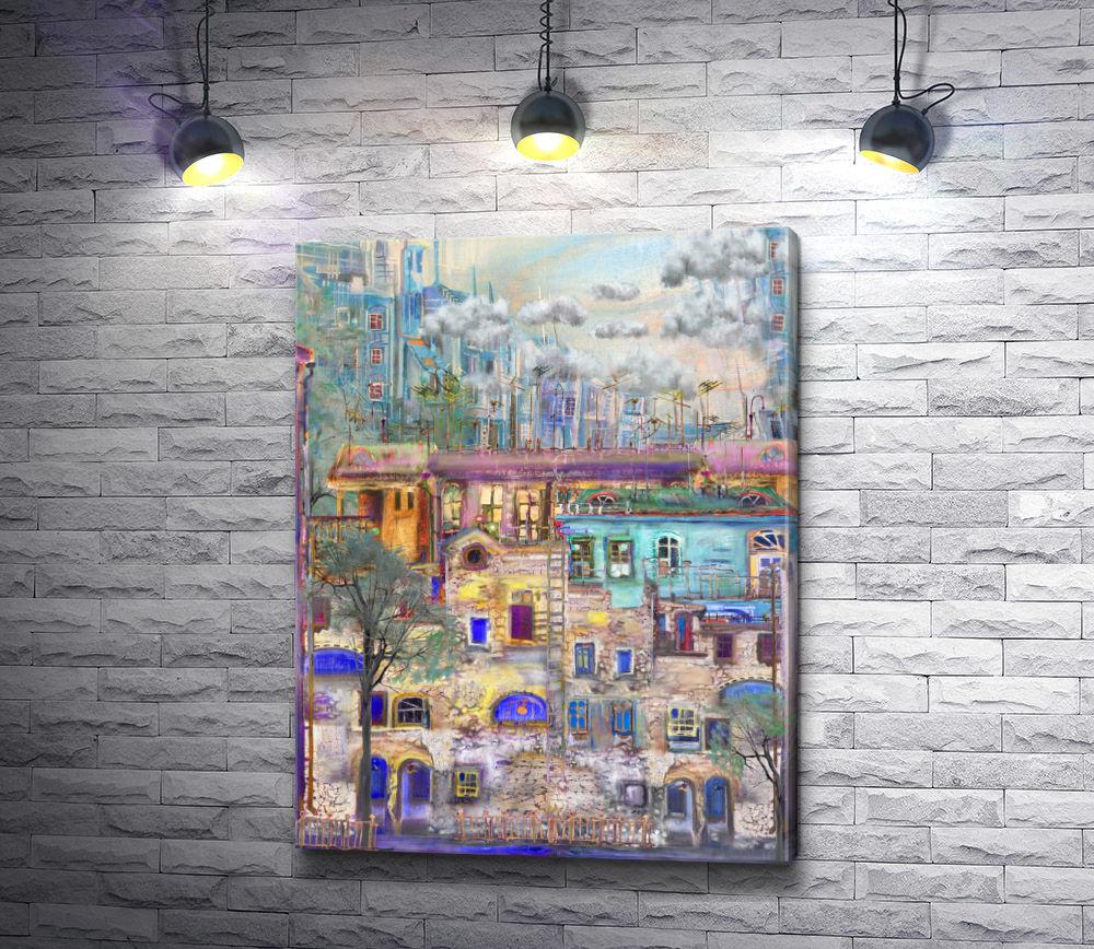 """Картина """"Цветные домики с синими окнами"""""""