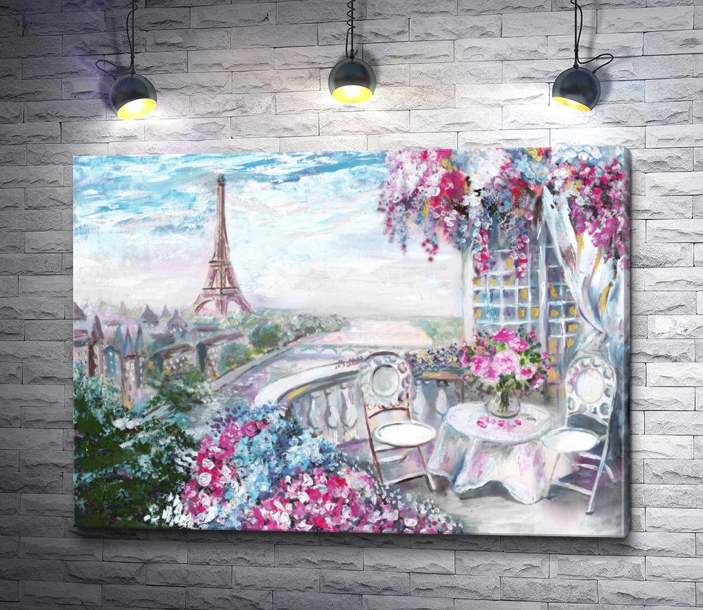 "Картина ""Вид с веранды на Эйфелеву башню. Париж, Франция"""