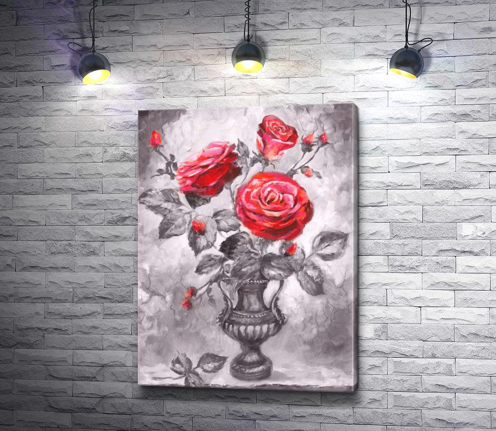 """Картина """"Красные розы в античной вазе"""""""