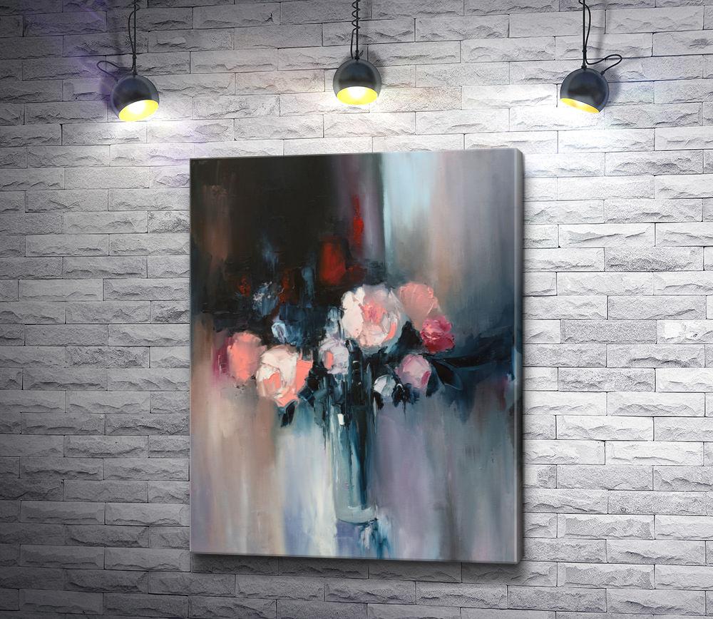 """Картина """"Розовые розы в стеклянной вазе"""""""