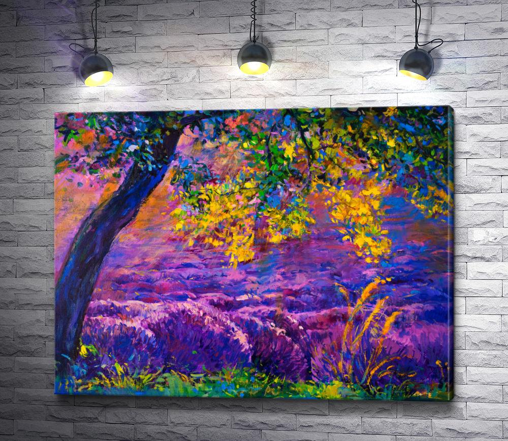 "Картина ""Ивайло Николов - Дерево на лавандовом поле"""