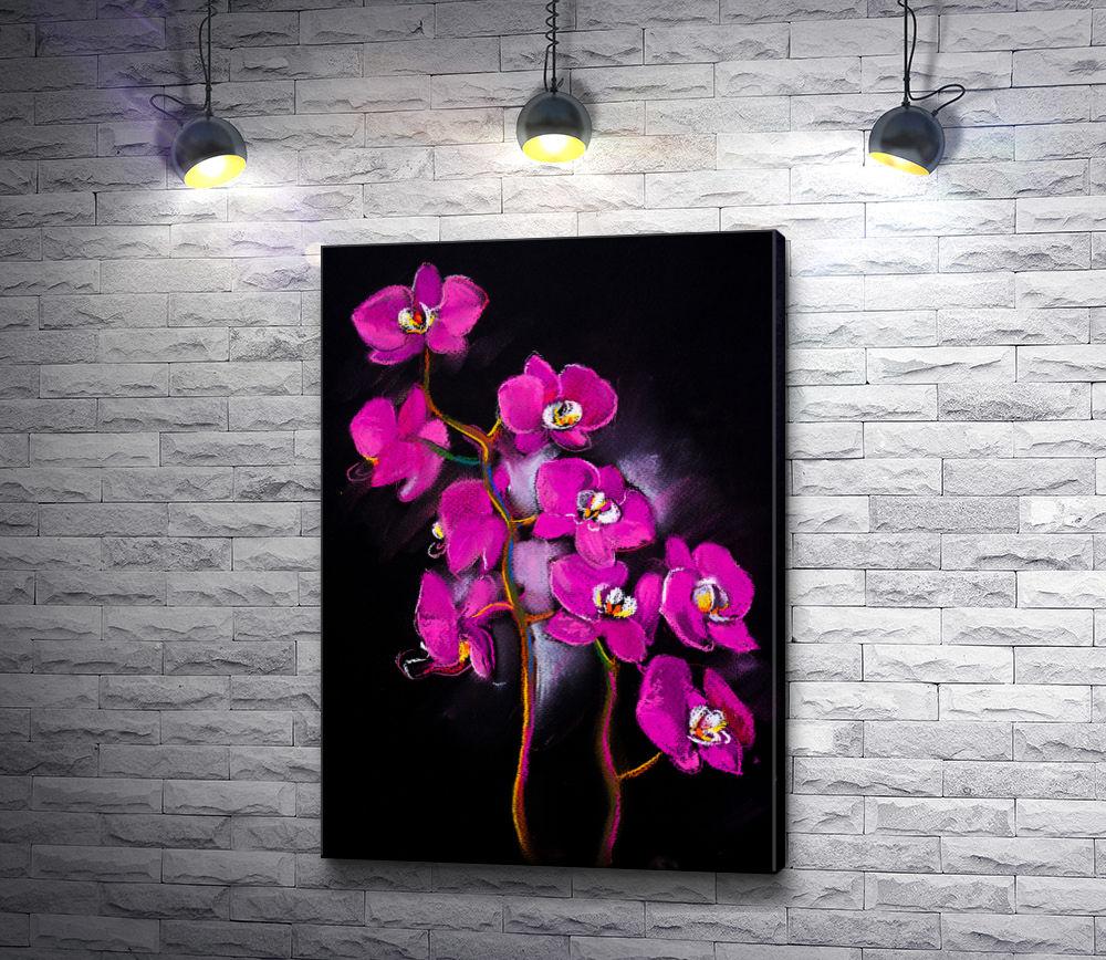 """Картина """"Веточки сиреневых орхидей на черном фоне """""""
