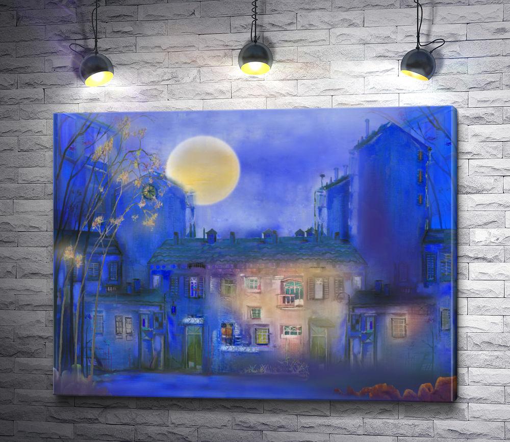 """Картина """"Синяя ночь в городе"""""""