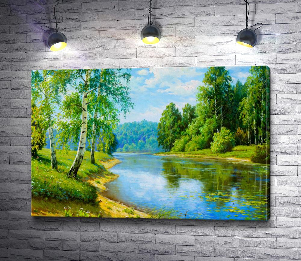 """Картина """"Летний пейзаж с березками и рекой"""""""