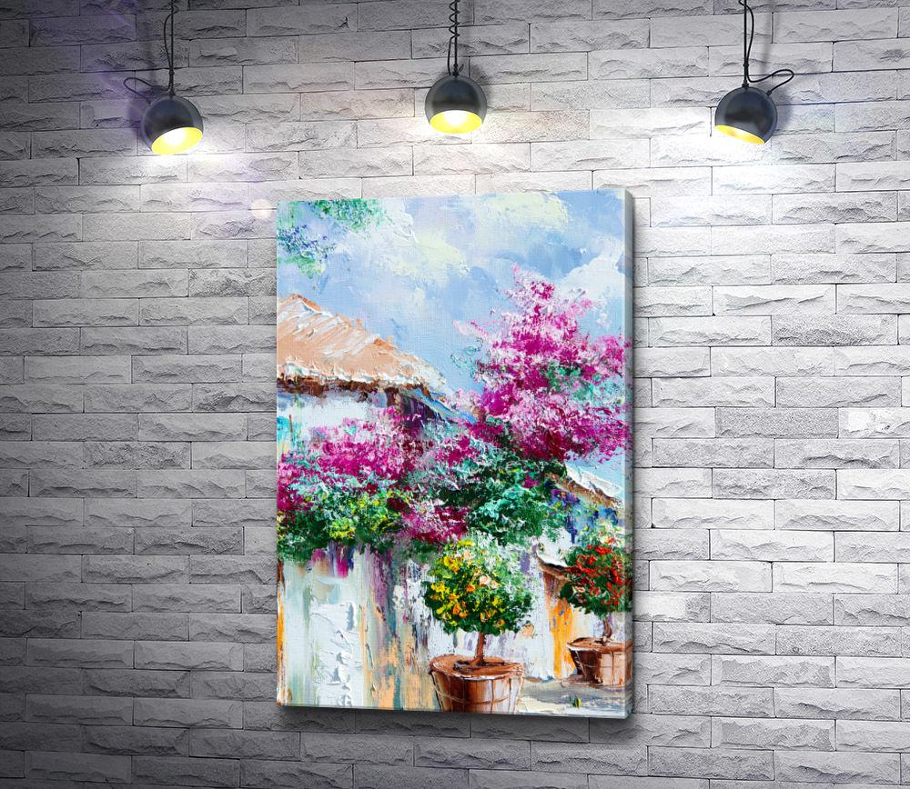 """Картина """"Горшки с карликовыми деревьми возле дома"""""""