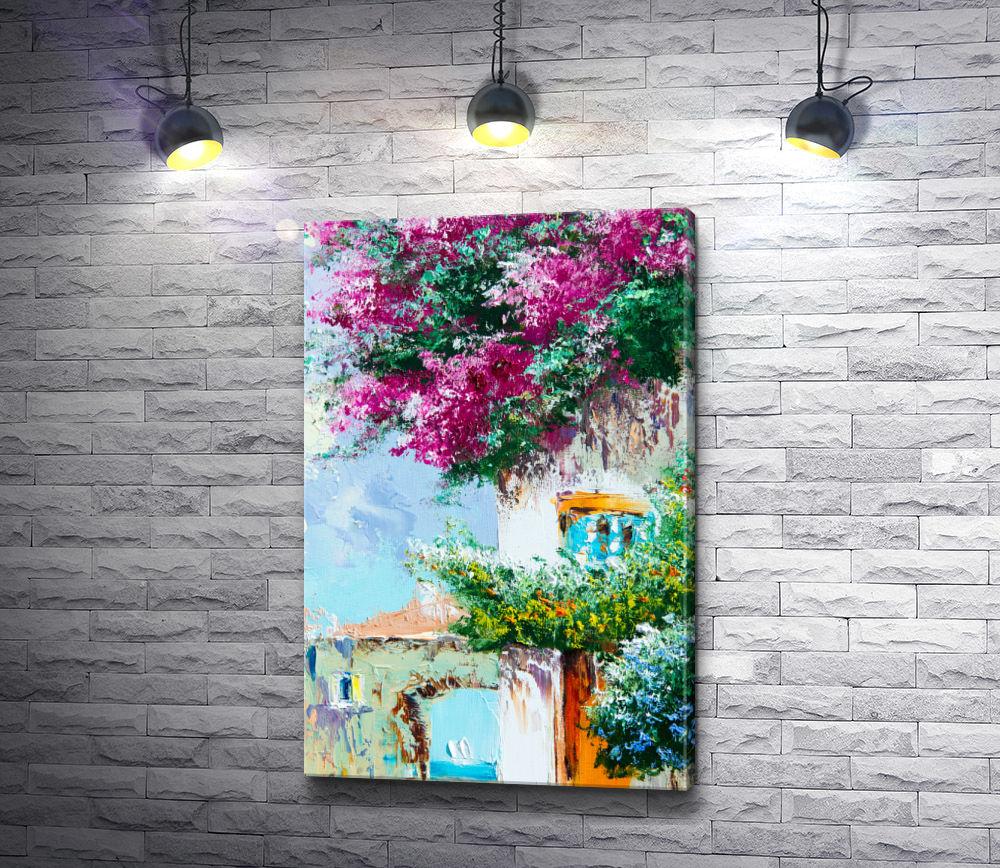 """Картина """"Цветущие кусты возле дома"""""""