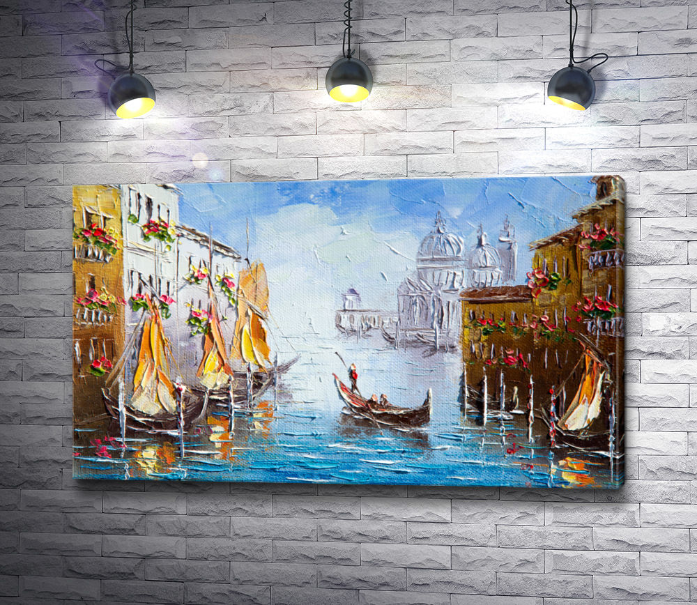 "Картина ""Гондольер с туристами на Гранд-канале. Венеция, Италия"""