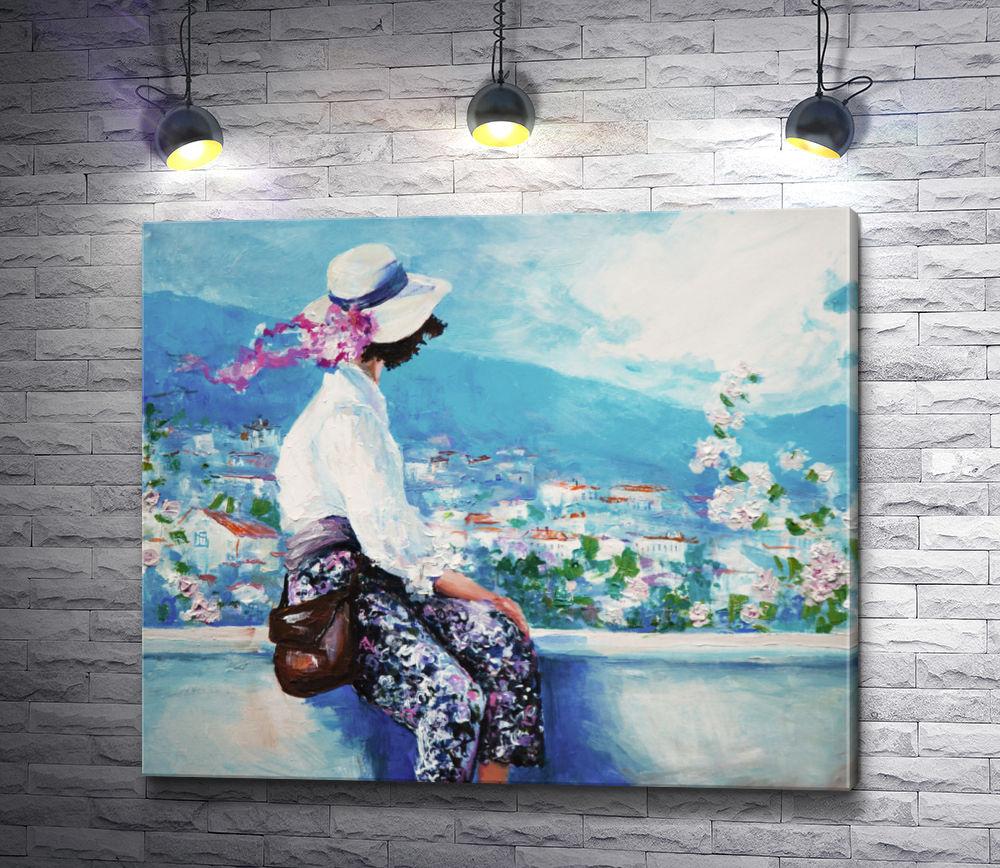 "Картина ""Девушка в шляпке сидит на балконе"""