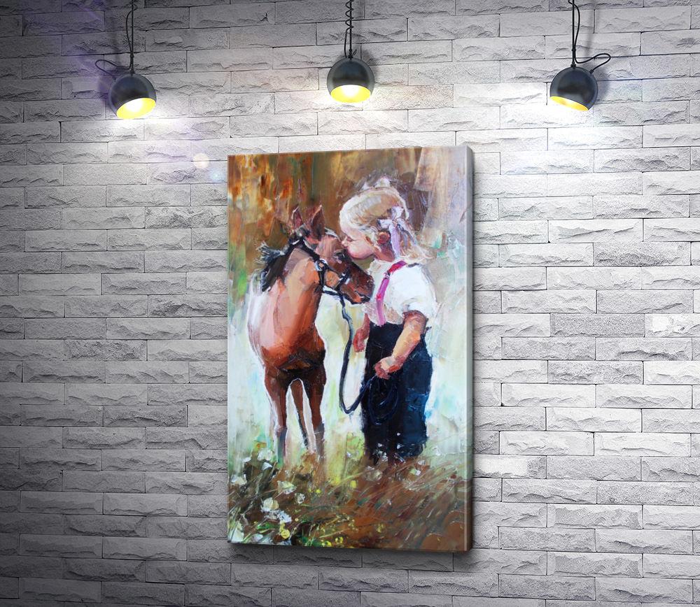 """Картина """"Маленькая девочка и лошадка"""""""