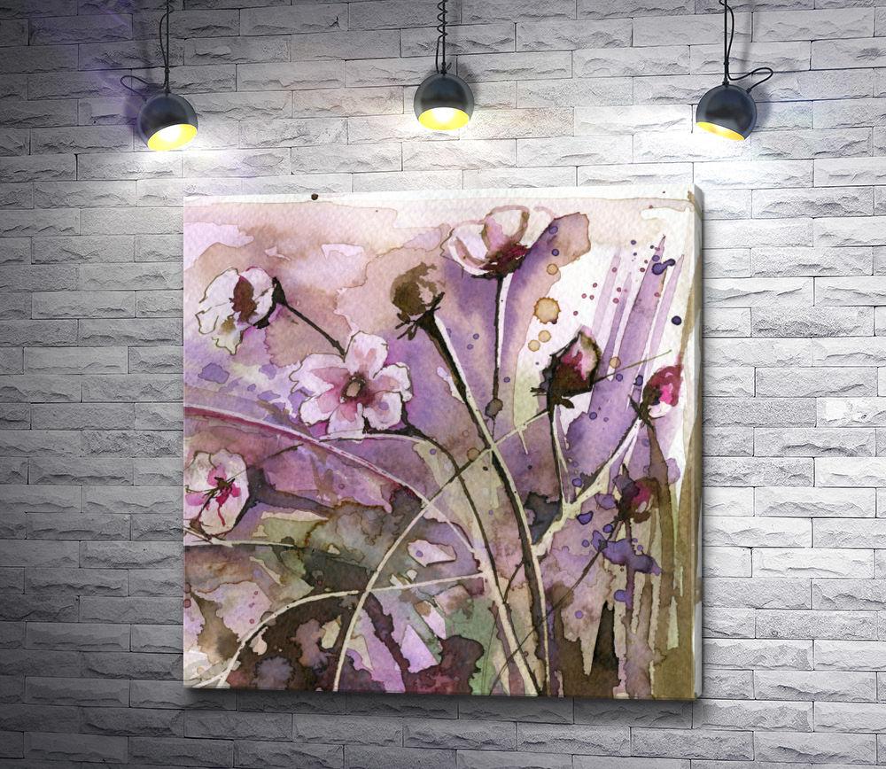 """Картина """"Полевые цветы на лиловом фоне"""""""