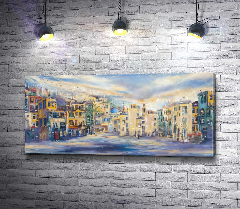 """Картина """"Городские домики и небо"""""""