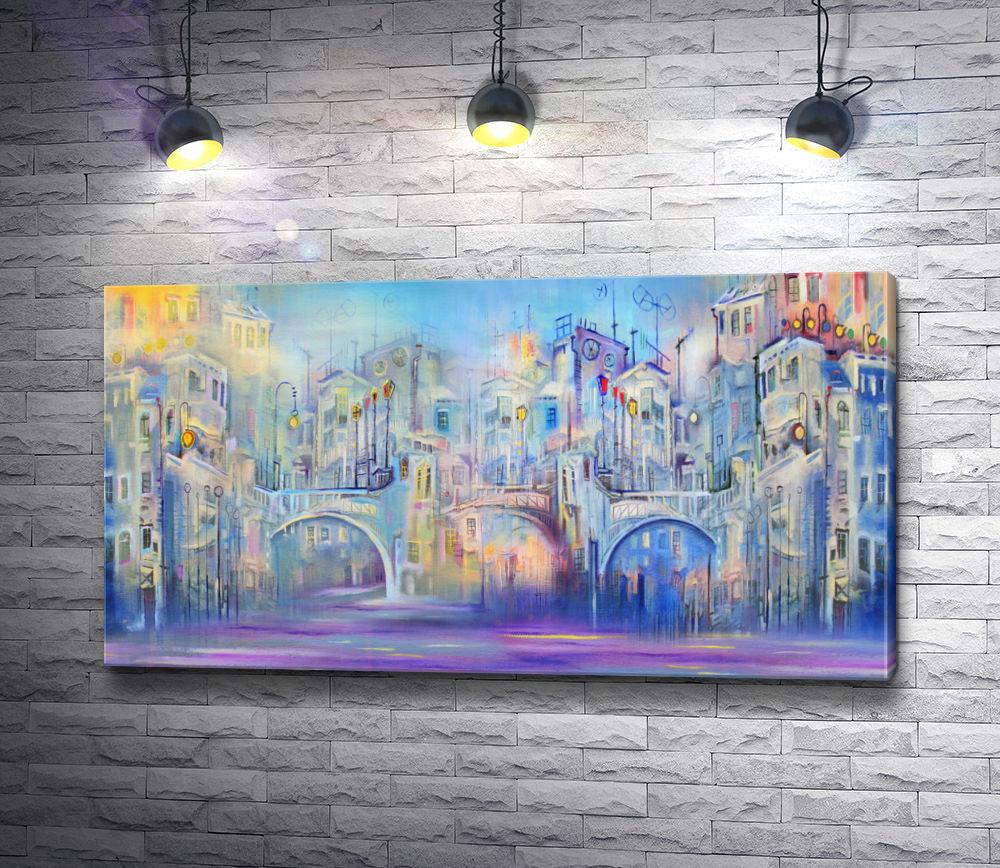 """Картина """"Арочный мост и городские дома"""""""
