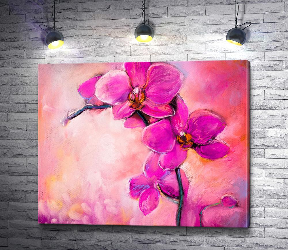 """Картина """"Ветка сиреневых орхидей"""""""