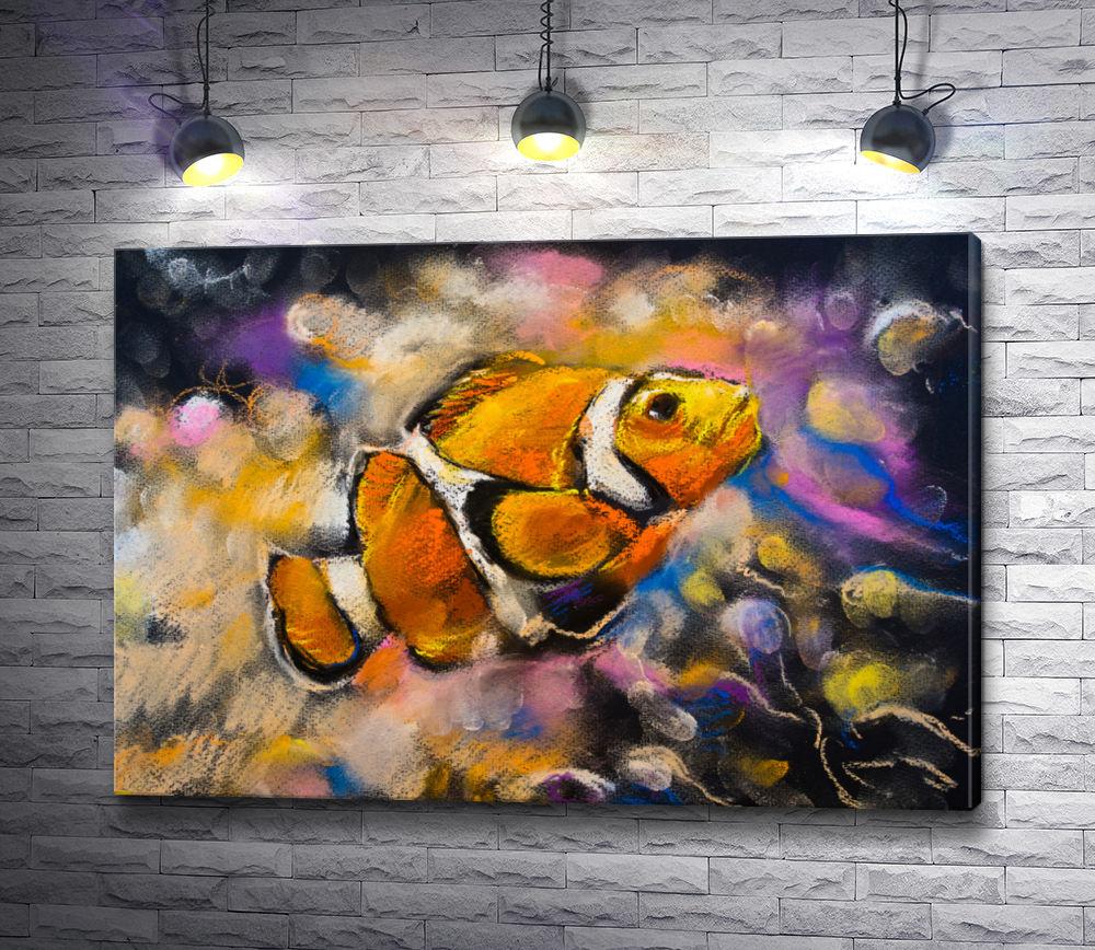 "Картина ""Рыба-клоун в подводном мире"""