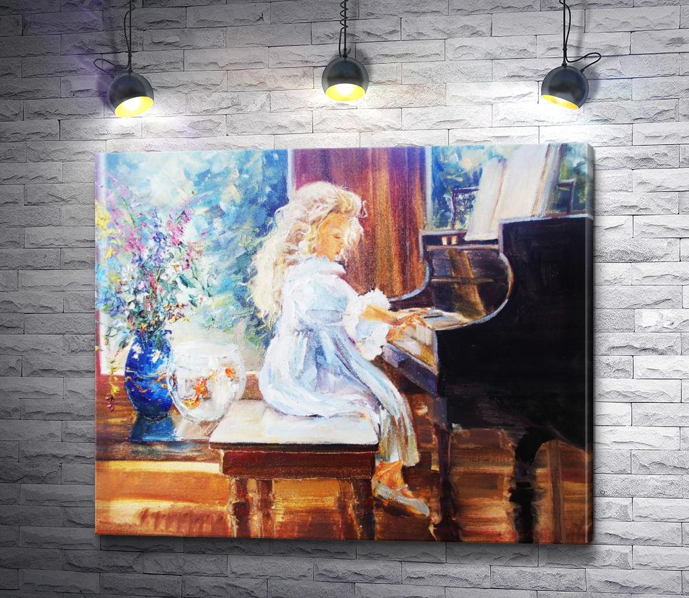 """Картина """"Девочка играет на пианино"""""""