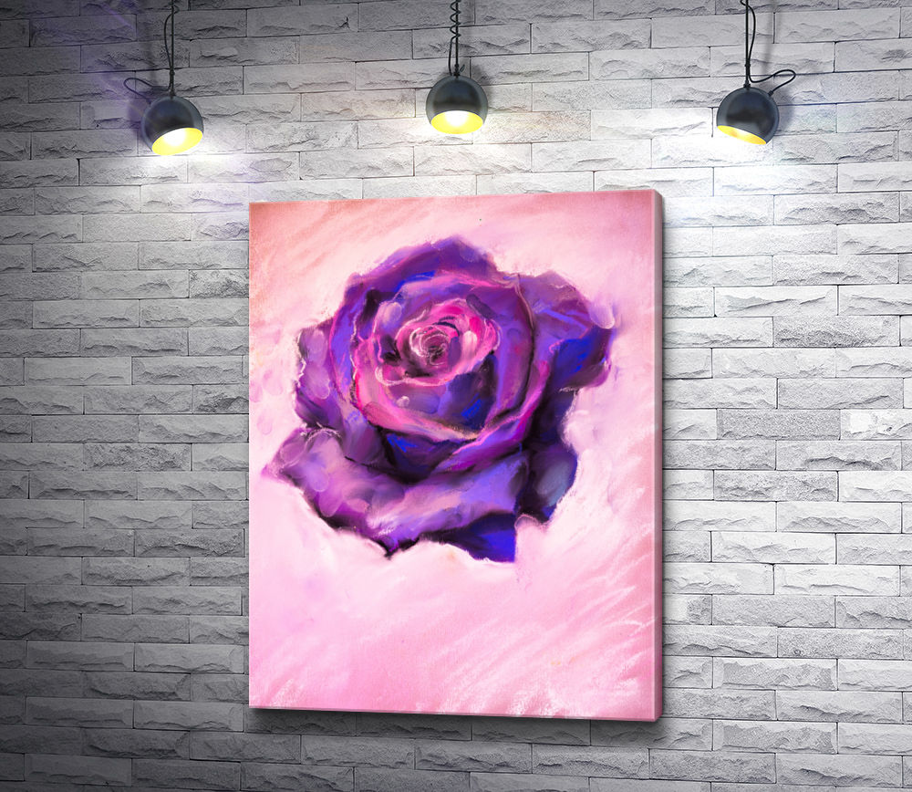 "Картина ""Фиолетовая роза на розовом фоне"""