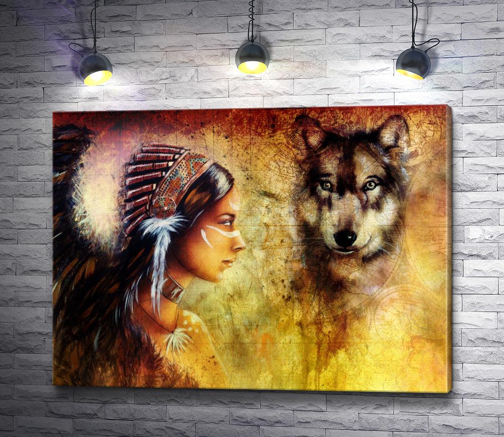 """Картина """"Девушка-индианка и волк"""""""