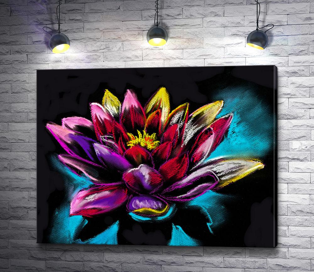"""Картина """"Ивайло Николов - Яркая водяная лилия на черном фоне"""""""