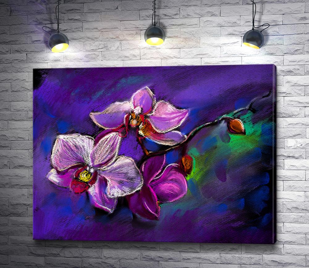 """Картина """"Веточка орхидей на фиолетовом фоне"""""""