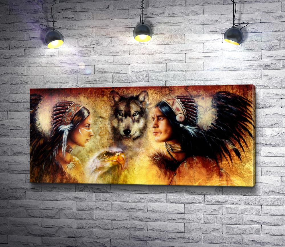 """Картина """"Пара индейцев, волк и орел"""""""