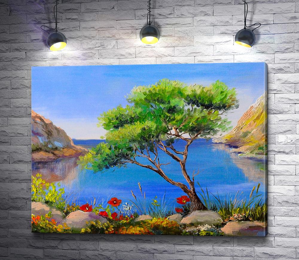 """Картина """"Дерево с маками на берегу залива"""""""