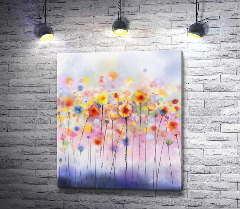 """Картина """"Цветы акварелью в стиле гранж"""""""