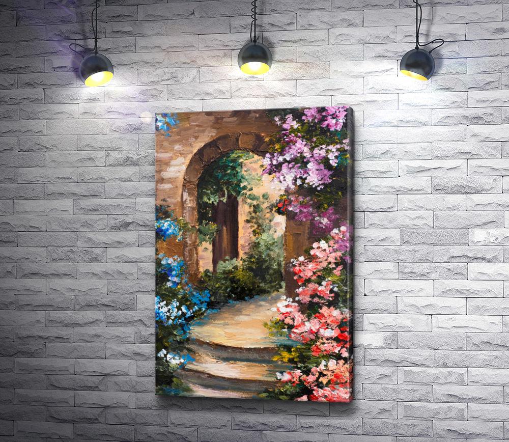 "Картина ""Летняя терраса в цветах,  Греция """