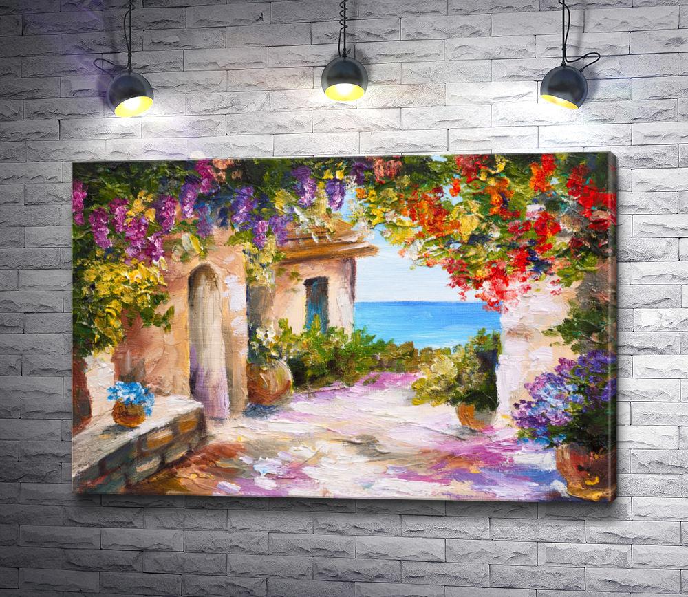 """Картина """"Двор с вьющимися цветами на берегу моря """""""