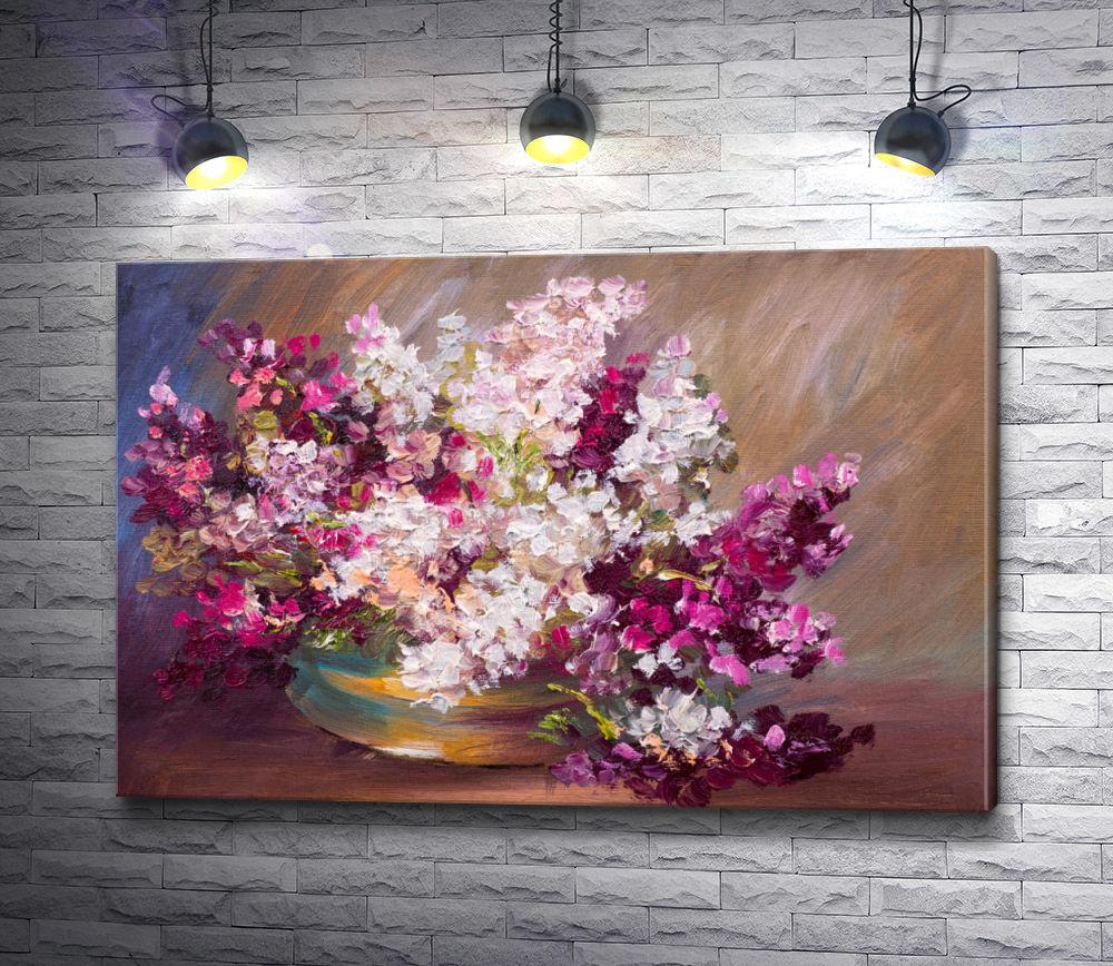 "Картина ""Букет сирени,  красочный натюрморт """