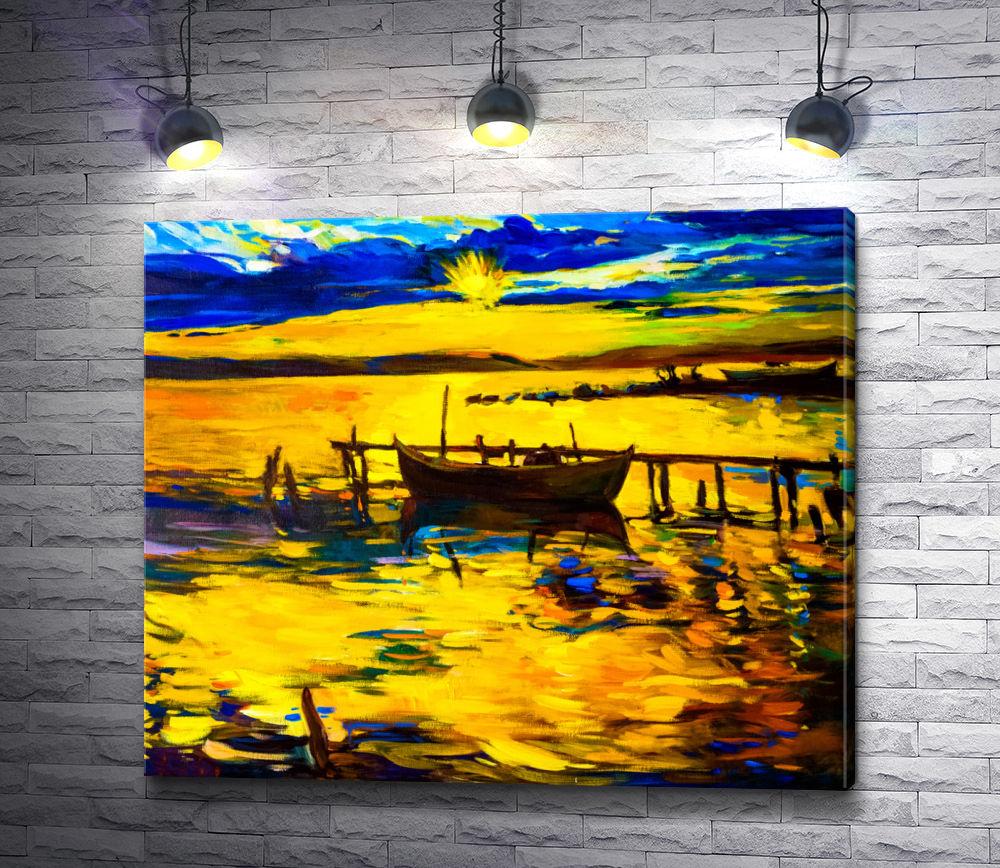 """Картина """"Лодка и причал на фоне заката """""""