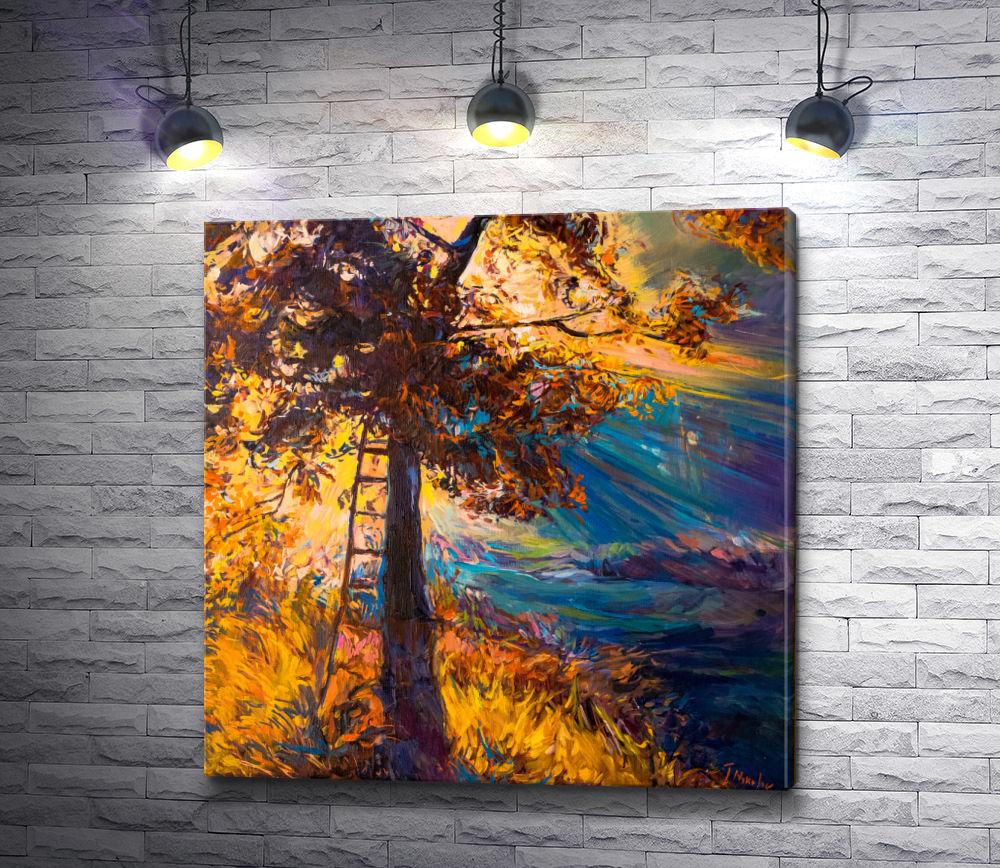 "Картина ""Лестница у осеннего дерева"""