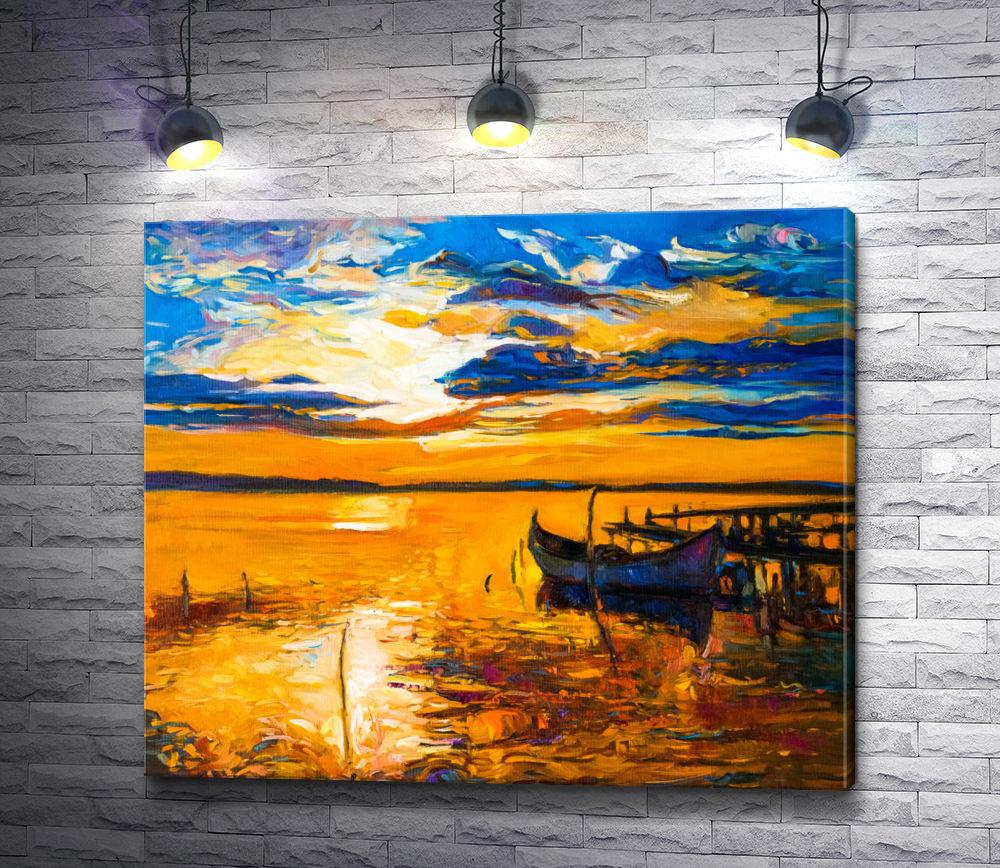 "Картина ""Лодка у причала во время морского заката """