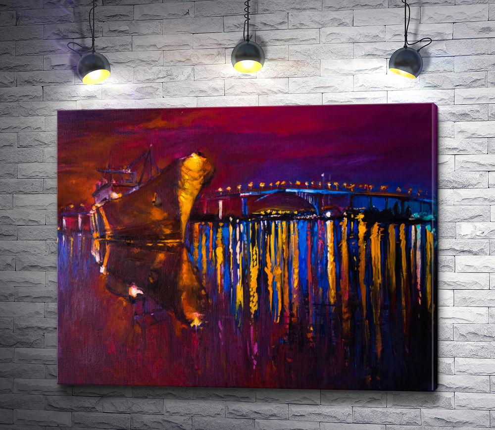 """Картина """"Корабль на фоне светящегося моста """""""