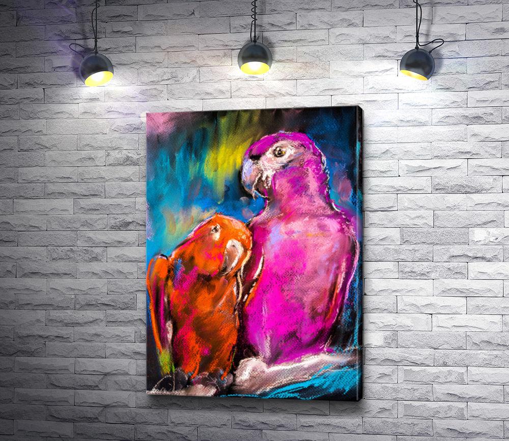 """Картина """"Розовый и оранжевый попугаи """""""
