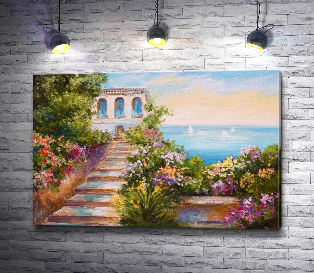 "Картина ""Цветы возле дома """