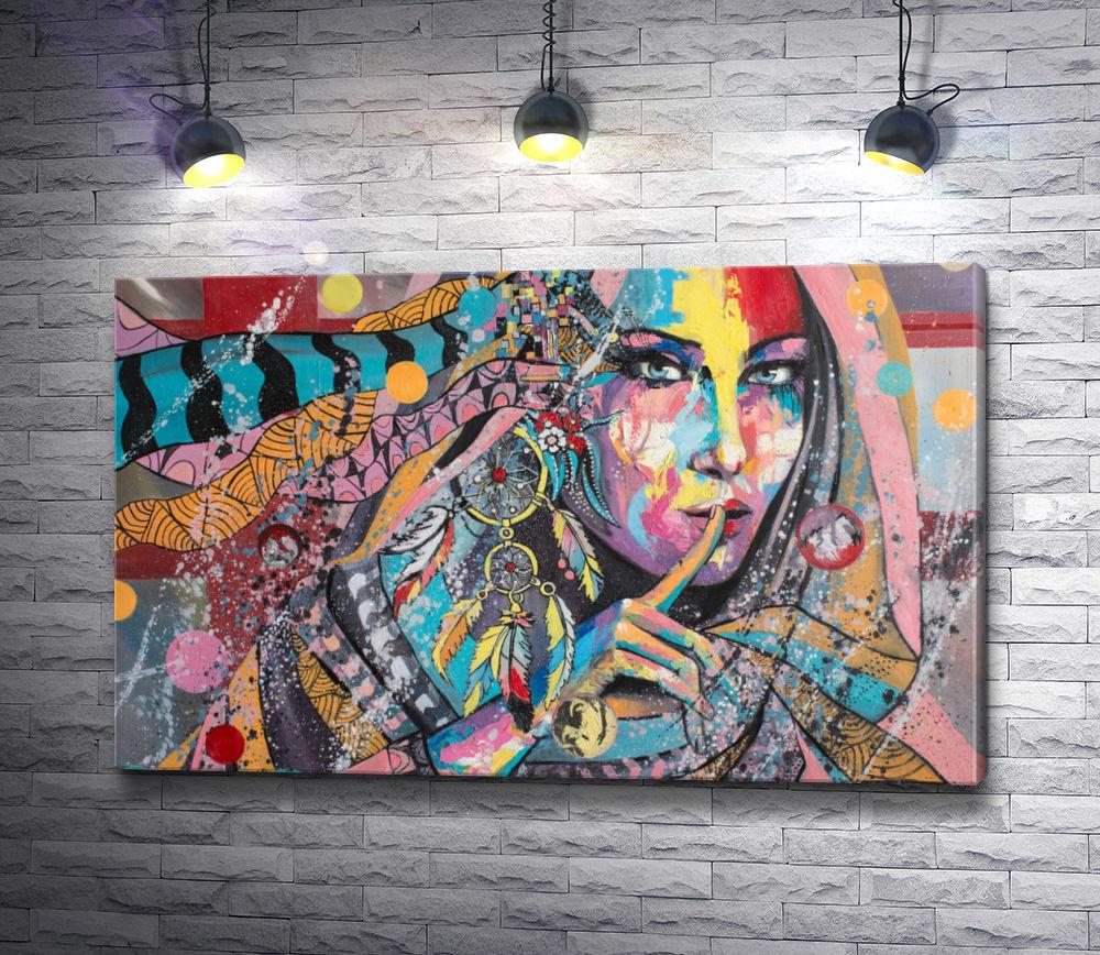 """Картина """"Индейская женщина в стиле гранж"""""""