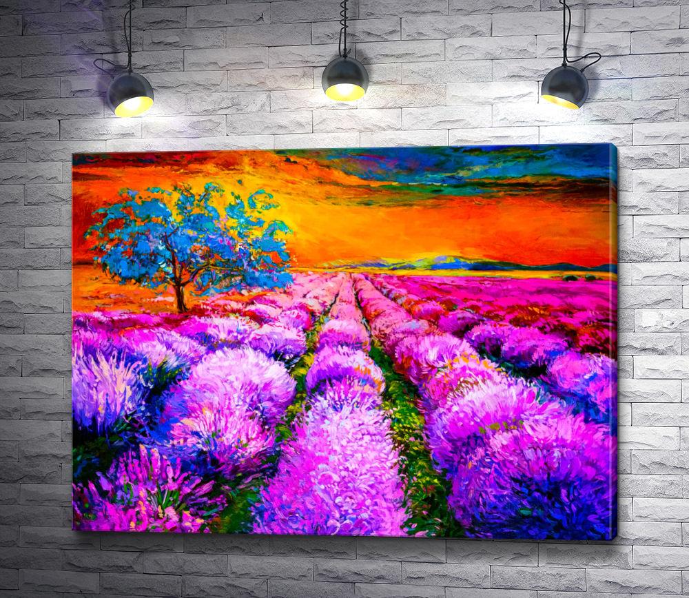 "Картина ""Дерево на лавандовом поле """