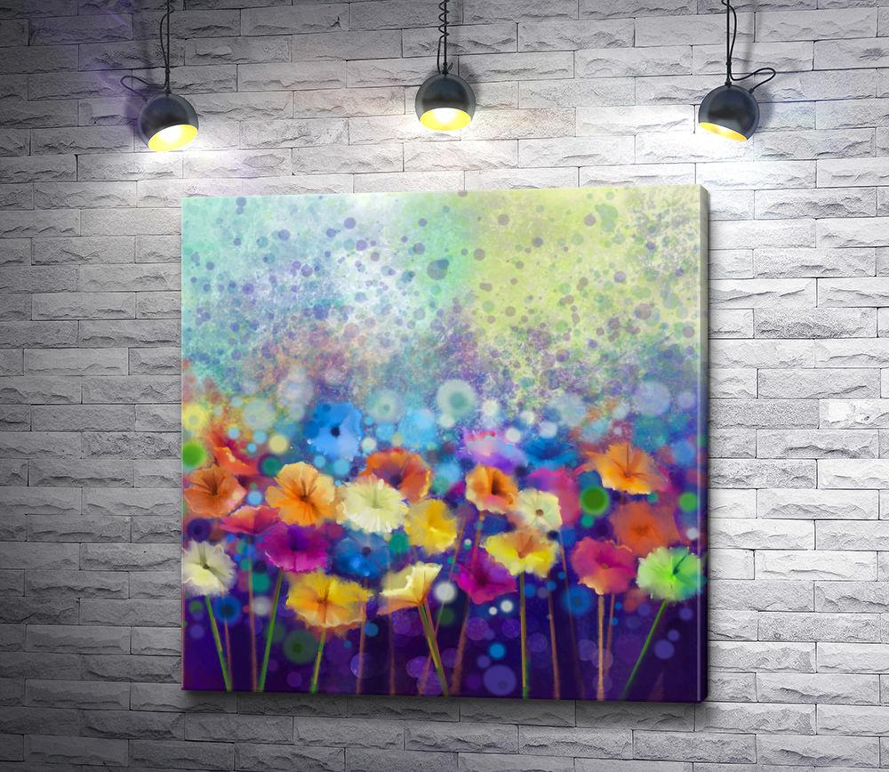 """Картина """"Разноцветные цветы в стиле гранж"""""""