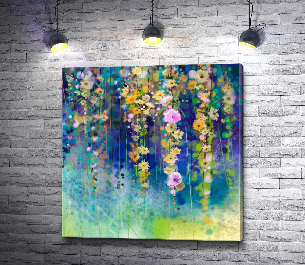 """Картина """"Вьющиеся цветы в стиле гранж"""""""