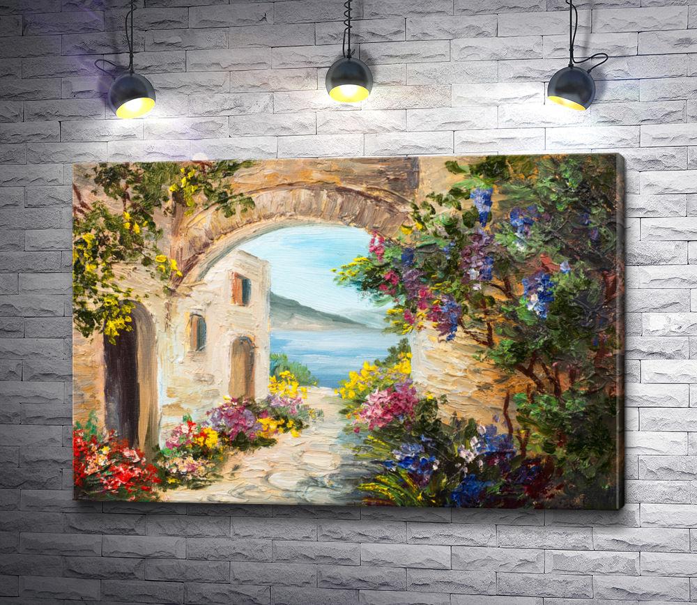 "Картина ""Двор с аркой,  цветами и видом на море """