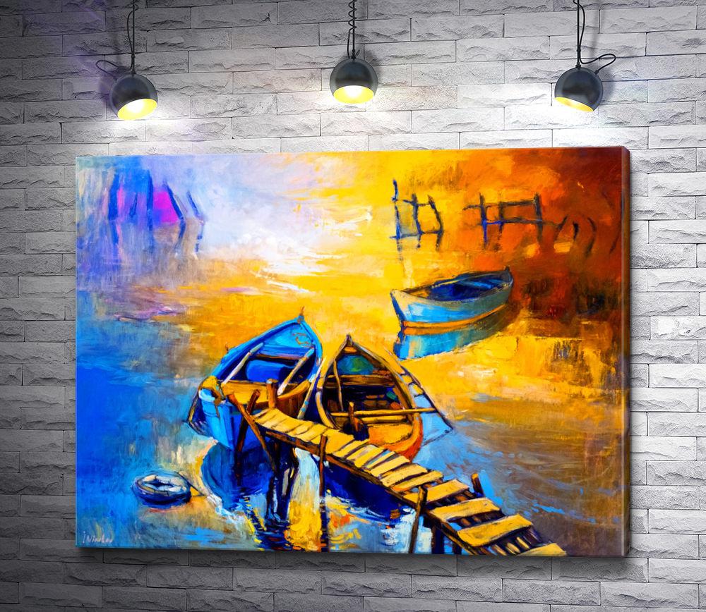 """Картина """"Лодки на закате """""""