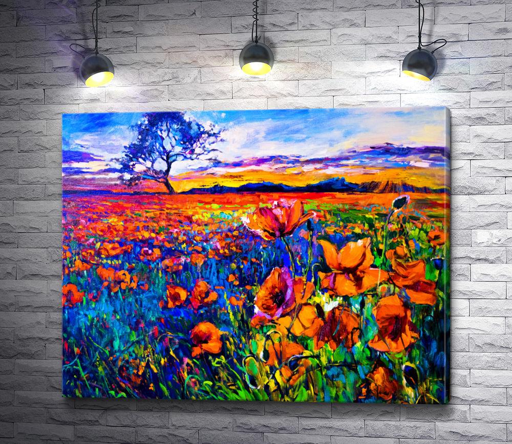 """Картина """"Маковое поле на фоне вечернего неба """""""