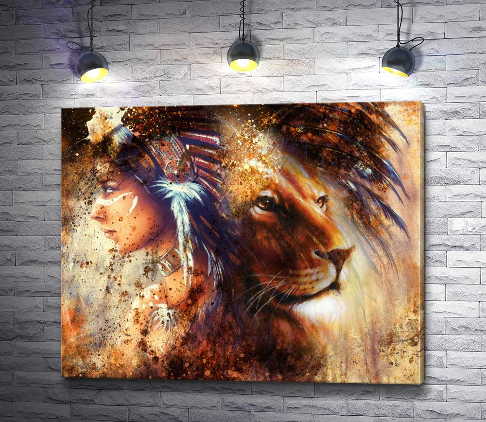 "Картина ""Индейская девушка и лев в стиле гранж"""