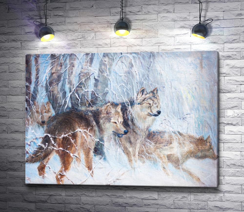 """Картина """"Волчья стая в зимнем лесу"""""""